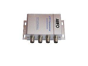 BALUN COM 4 PORTAS ARFO AR-204 - Recebe e transmite sinais de vídeo por cabo UTP sem usar fonte de alimentação