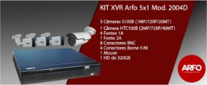 Kit Xvr 5x1 Arfo Mod. 2004D FullHd com 4 Câmeras s100b 720P 20mt,  4 Fonte 1a, 1 fonte 2a, Mouse conectores Disco 320Gb