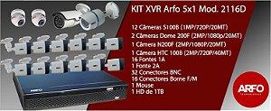 Kit Xvr 5x1 Arfo 2116d, FullHd 16 Câmeras ( 12 Câmeras s100b 20mt, 1 Câm.Htc100b 40mt, 2 Câm.Dome, 1 Câm;1080p 200f,) 16 Fonte 1a, 1 fonte 2a, Mouse conectores Disco 1tb
