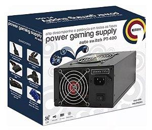 FONTE ATX GAMER 400W REAIS COM AUTO SWITCH  CONECTOR PCIE 8 PINOS