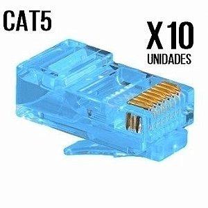 CONECTOR CAT5 AZUL PACOTE COM 10 UNIDADES