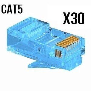 CONECTOR CAT5 AZUL PACOTE COM 30 UNIDADES