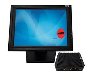 TERMINAL DE CONSULTA TOUCH SCREEN LCD 15'' PRETO + MINI PC INDUSTRIAL ARFO MOD. AR-1910, PROCESSADOR QUAD CORE , MEMÓRIA 4GB, SDD 128GB, 5 USB, 1 VGA, 1 HDMI, 1 SERIAL com linux  (opções com i3,i5 e i7) consulte