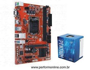 Kit Upgrade Placa Mãe 1151 DDR3 / DDR4 (HDMI, VGA, 4 USB 2.0, 4 USB 3.0, 4 SATA) + INTEL PENTIUN GOLD G4500 7TH
