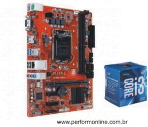 Kit Upgrade Placa Mãe 1151 DDR3 / DDR4 (HDMI, VGA, 4 USB 2.0, 4 USB 3.0, 4 SATA) + INTEL CORE I3 6100 6TH
