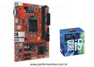 Kit Upgrade Placa Mãe 1151 DDR3 / DDR4 (HDMI, VGA, 4 USB 2.0, 4 USB 3.0, 4 SATA) + INTEL CORE I5 7400 7TH