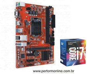Kit Upgrade Placa Mãe 1151 DDR3 / DDR4 (HDMI, VGA, 4 USB 2.0, 4 USB 3.0, 4 SATA)   + INTEL CORE I7 7700 7TH
