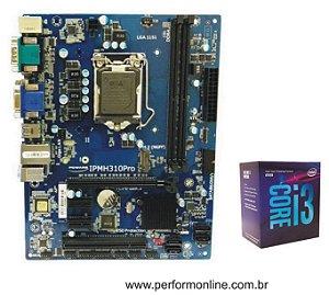 Kit Upgrade Placa Mãe 1151 H310 PRO DDR4 (HDMI,VGA,DVI, 1 SERIAL, LPT1 INTERNA, 4 USB 2.0, 2 USB 3.0, 4 SATA,Slot M.2 SSD 32GB/S) + INTEL CORE I3 8100 8TH