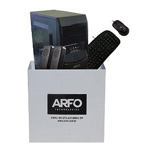 KIT BAREBONE ARFO 4 BAIAS 4B02 COM GABINETE, FONTE 200W, TECLADO, MOUSE USB E CAIXA SOM