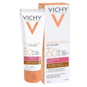 Vichy Capital Soleil Uv Glow FPS60 Pele Média A Negra 40g