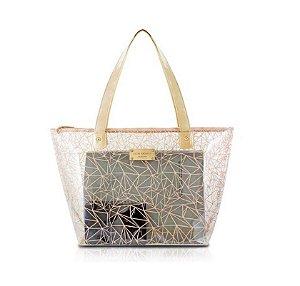 Jacki Design Bolsa Shopper Transparente Cor Bege