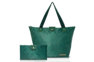 Jacki Design Bolsa Dobrável Tam. G Damasco Cor Verde