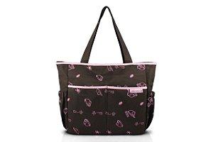 Jacki Design Bolsa de Bebê Estampada Cor Marrom e Pink