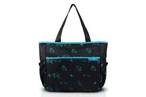 Jacki Design Bolsa de Bebê Estampada Cor Preto e Azul