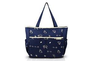 Jacki Design Bolsa de Bebê Estampada Cor Azul e Bege