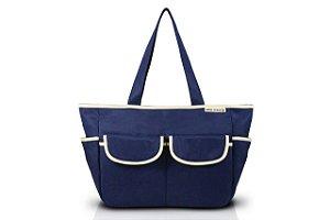 Jacki Design Bolsa de Bebê Lisa Cor Azul e Bege