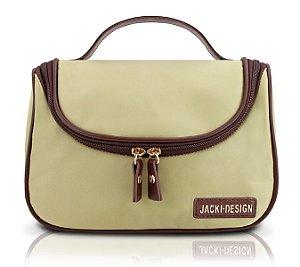 Jacki Design Necessaire Com Gancho Lisa Cor Bege
