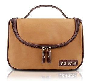 Jacki Design Necessaire Com Gancho Lisa Cor Caramelo