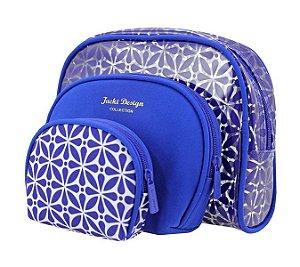 Jacki Design Kit Necessaire 3 Em 1 Geométrica Cor Azul