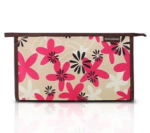 Jacki Design Necessaire Envelope Estampa Tam G Marrom Floral
