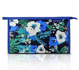 Jacki Design Necessaire Envelope Estampada Tam G Azul Floral