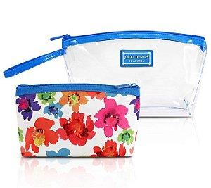 Jacki Design Kit De Necessaire De 2 Peças Cor Azul E Branco
