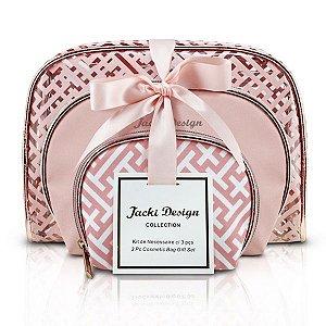Jacki Design Kit De Necessaire Com 3 Peças Cor Rosa