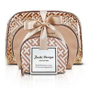 Jacki Design Kit De Necessaire Com 3 Peças Cor Dourada