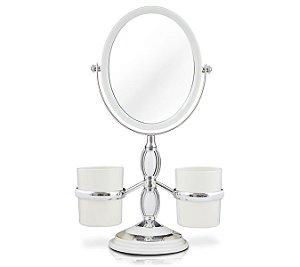 Jacki Design Espelho De Bancada Branco Com Suportes Laterais