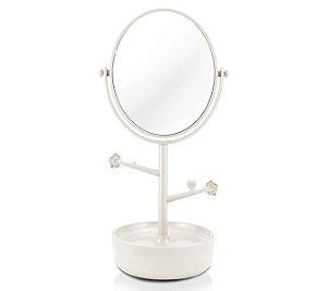 Jacki Design Espelho Com Compartimento Para Jóias Branco