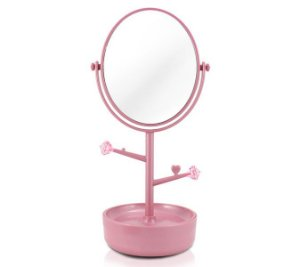 Jacki Design Espelho Com Compartimento Para Jóias Cor Rosa