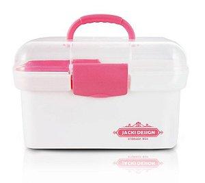 Jacki Design Caixa Organizadora Transparente Rosa e Branco
