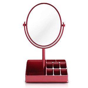 Jacki Design Espelho De Mesa Com Divisórias Cor Vermelho