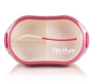 Jacki Design Pote Marmita Com 3 Compartimentos Cor Pink 750ml