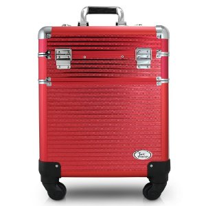 Jacki Design Maleta Profissional 2 Andares com Rodinhas de 360º Vermelho