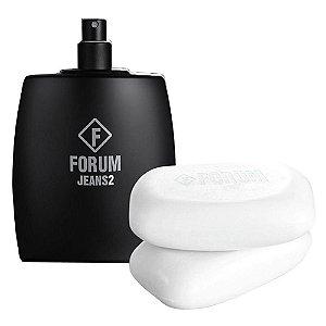Forum Kit Classic Jeans2 Deo Colonia Perfume Unissex 100ml e Sabonete 2x90g