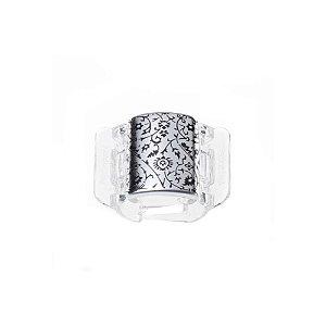 Linziclip Prendedor de Cabelo Core Silver Metallic Floral