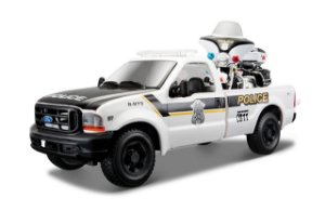1999 FORD F-350 + MOTO HARLEY  ELECTRA GUIDE POLICIA 1/24
