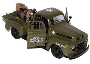 1942 FORD F-1 PICKUP + MOTO HARLEY WLA FLATHEAD MILITAR USA 1/24