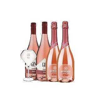 02 Gin Fizz Melt 750ml+ 02 espumantes Aurora Moscatel Rosé 750ml+ 01 taça acrílico exclusiva da marca