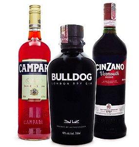 Kit Campari Negroni (Campari 900ml + Gin Bulldog 750ml + Cinzano 900ml)