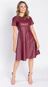 Vestido Feminino Couro Victória - Vinho