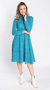 Vestido Feminino Tricô Medi Talita - Azul
