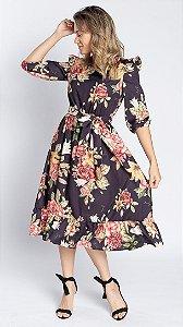 Vestido Feminino Rute Floral - Preto