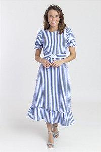 Vestido Feminino Estela Midi - Listado Azul