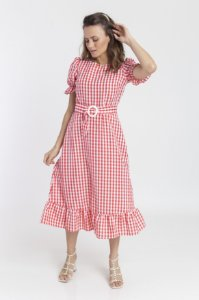 Vestido Feminino Estela Midi - Xadrez  Vermelho e Branco