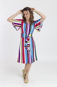 Vestido Feminino Cacilda - Listado Colorido