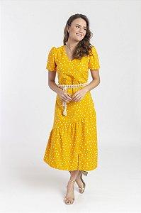 Vestido Feminino Heliza - Poá Amarelo