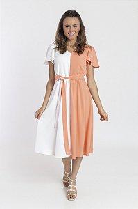 Vestido Feminino Cecilia - Bicolor Branco e Salmão