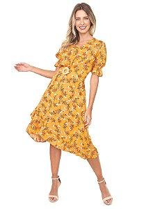 Vestido Amarilis Estampado Amarelo com Cinto